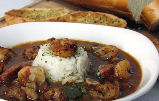 Chicken and Sausage Gumbo with Blackened Shrimp