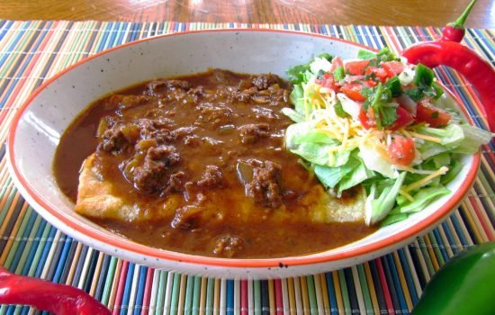 Chili Gravy with Beef Enchiladas