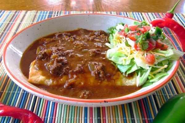 Chili Gravy on Cheese Enchiladas