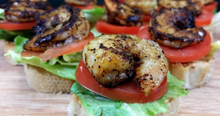 Blackened Shrimp Po Boy Bites