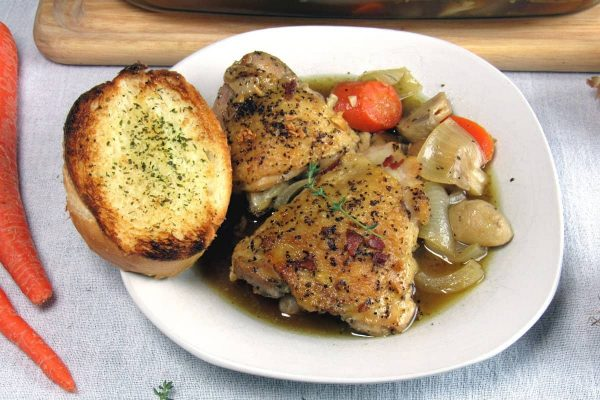 White Wine Coq Au Vin Chicken Thighs Recipe