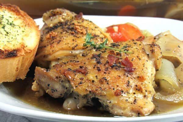 White Wine Coq Au Vin Chicken Thighs Recipe